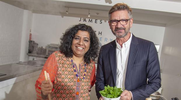 Joris Minne with Asma Khan, star of Netflix's Chef's Table, who launched the programme for the upcoming Jaipur Literature Festival in Belfast