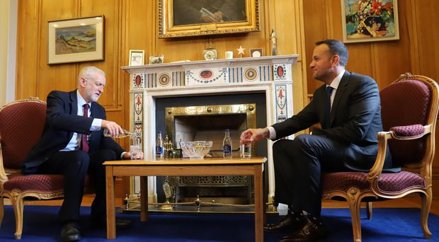 Taoiseach Leo Varadkar welcoming Labour leader Jeremy Corbyn to the Government Buildings in Dublin (Merrion Street/PA)