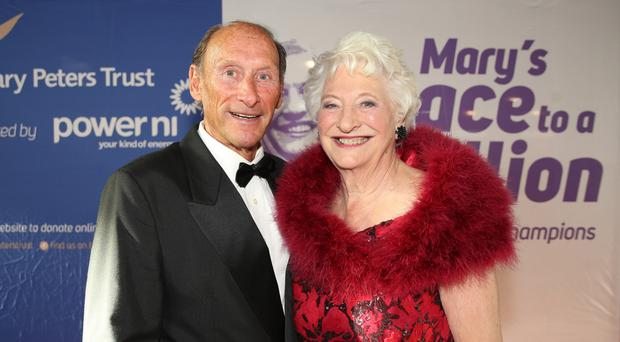 Olympic gold medal winner Lady Mary Peters with fellow Olympian Mike Bull