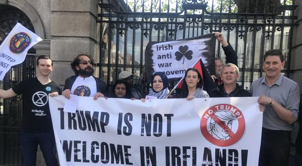Protesters opposed to US President Donald Trump's visit to Ireland (Rebecca Black/PA)