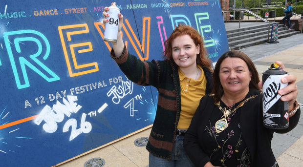 Mayor of Derry City and Strabane District Council Michaela Boyle and Youth 19 Young People's Marketing and Events Steering Group member Chloe Harkin launch the Rewire Festival