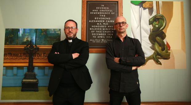 Belfast photographer Stephen Wilson (right) with Father Eugene O'Neill with his Same Difference exhibition