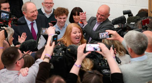 Naomi Long shows her joy at being elected as an MEP last month
