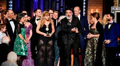 Jez Butterworth and the cast and crew of The Ferryman accepts the award for Best Play at the 2019 Tony Awards in New York