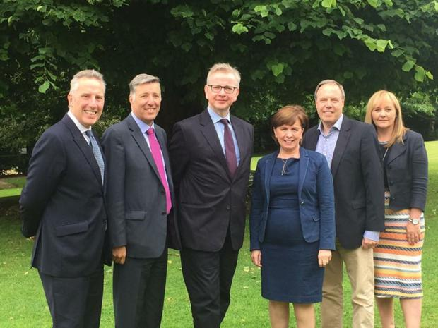 Michael Gove (third left) with DUP's Ian Paisley, Paul Girvan, Diane Dodds, Nigel Dodds and Michelle McIlveen during a visit to Antrim