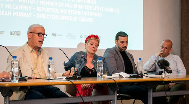 Alex Gibney (left) speaks during a discussion in the Ulster Museum hosted by Docs Ireland Film Festival event with Kathryn Johnston, Sean Murray and Barry McCaffrey