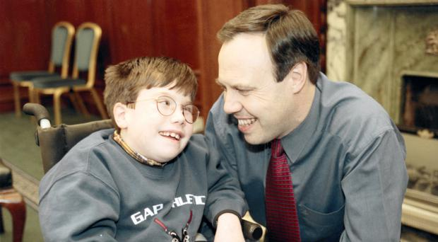 Nigel Dodds with son Andrew in 1998