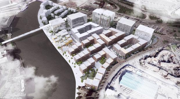 An artist's impression of how the new waterside development on the banks of the Lagan in east Belfast could look