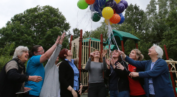 Balloons are released to mark the 90th birthday of Arellian Nursery School