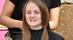 Poppy Henderson gets her hair cut for the Little Princess Trust and CLIC Sargent cancer care
