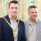 Keith Getty with Lord Mayor John Finucane at Belfast City Hall ahead of the Sing! Conference
