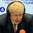 Boris Johnson gives an interview to Radio 4's World at One, just after Matt Hancock quit the race