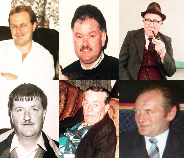 The victims (top row from left) Patrick O'Hare, Adrian Rogan, Barney Green and (bottom from left) Eamon Byrne, Daniel McCreanor and Malcolm Jenkinson