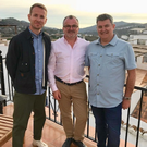 Michael Dunn and Seamus Trainor with presenter, Jonnie Irwin (left), on C4's A Place in the Sun