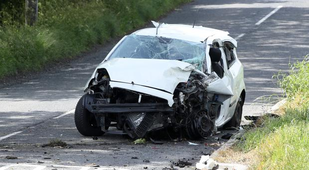 The wrecked car after the single-vehicle crash