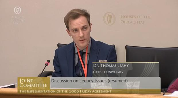 Dr Thomas Leahy, from Cardiff University, gave evidence to the committee (Oireachtas/PA)