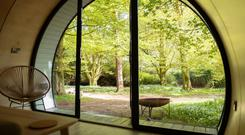 The futuristic pods in the grounds of Glenarm Castle, with their space-age aluminium exterior, are the brainchild of engineer Peter Farquharson of Intupod, a Carryduff-based design firm, and could soon be spotted in dozens of scenic locations across Scotland and Ireland