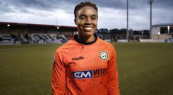 Nicole McClure turned out for Sion Swifts Ladies at Seaview a day after playing for Jamaica at the Women's World Cup in France