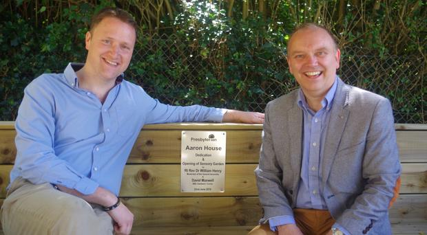 BBC Radio Ulster's David Maxwell (left) and Presbyterian Moderator Dr William Henry at the opening of the new sensory garden