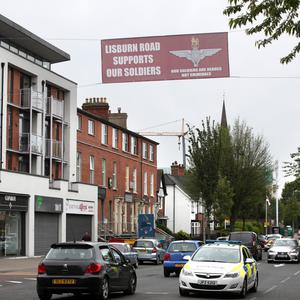 The banner on the Lisburn Road in south Belfast