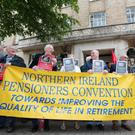 Pensioners outside BBC Broadcasting House on Belfast's Ormeau Avenue yesterday