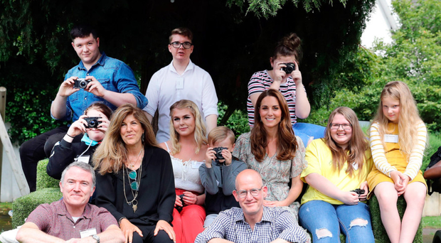 The Duchess and (back row, left) Cathal McCann during the photography workshop