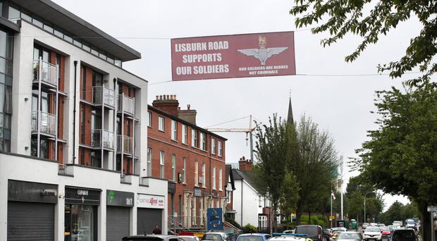 A flag in support of the Parachute Regiment on the Lisburn Road in Belfast