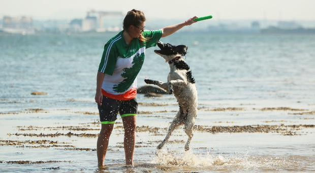 Jenna Fahy and dog Pepper at Loughshore in Jordanstown