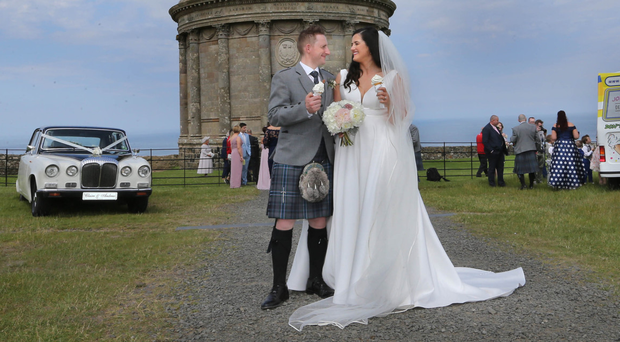 Claire Sugden and Andrew Anderson at Mussenden Temple on Saturday
