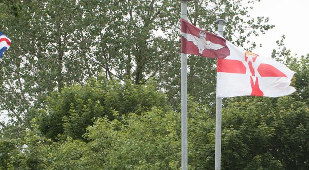Flags which have been placed at Caw roundabout in Londonderry