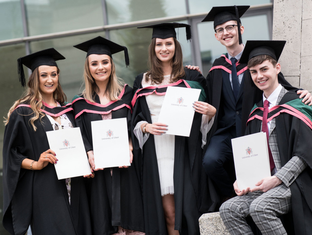 From left: Michelle McCone (Armagh), Sarah Rice (Newcastle), Helen Rosborough (Portrush), Curtis McLean (Bushmills) and Gavin McGovern (Magherafelt) all graduated with Bachelor of Design degrees