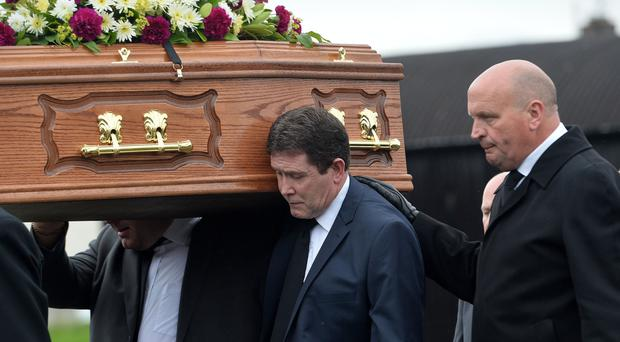 Mourners at the funeral of victims' campaigner Bea Worton