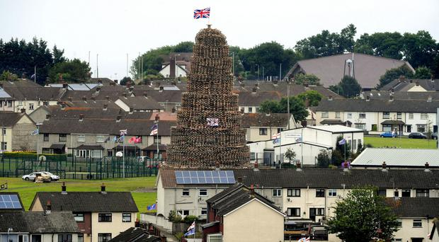 The Craigyhill bonfire in Larne