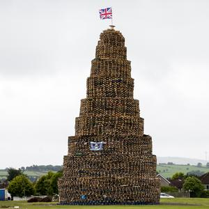 An Eleventh Night bonfire is prepared in Larne (Liam McBurney/PA)