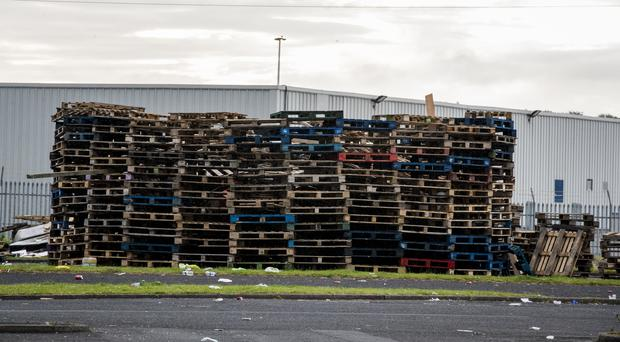 The contentious bonfire has been built in the grounds of Avoniel Leisure Centre in Belfast (Liam McBurney/PA)