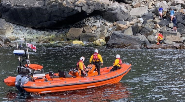 Red Bay lifeboat rescues three people who got stuck in the boulder field at the bottom of Fair Head, between Ballycastle and Cushendun
