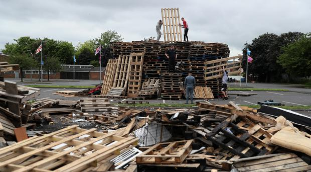 The bonfire at Avoniel Leisure Centre (Brian Lawless/PA)