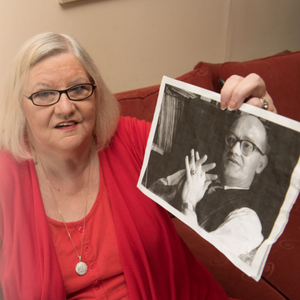 Cathy Healey with a picture of her dad Sammy Devenney