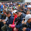 Hundreds of golf fans on the 18th on the first day of the 148th Open Championship in Royal Portrush