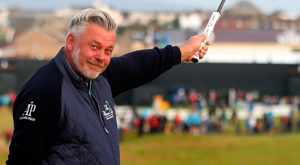 Darren Clarke celebrates his birdie on the 1st