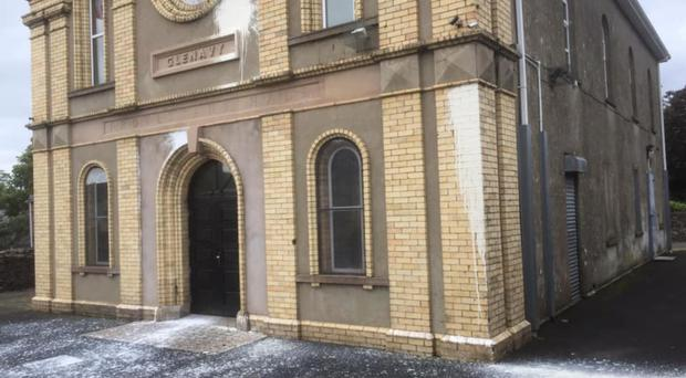 The damage caused to Glenavy Protestant Hall in a paint-bomb attack