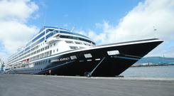 Outside the cruise ship Azamara Journey, which docked in Belfast yesterday