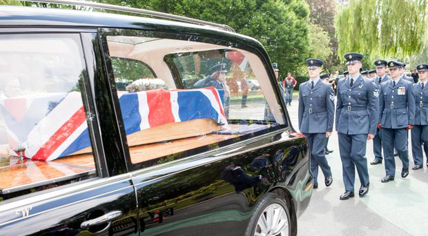 The funeral of Harold 'Lee' Tracey in Shropshire yesterday