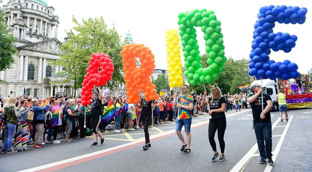 The Pride parade in Belfast last year