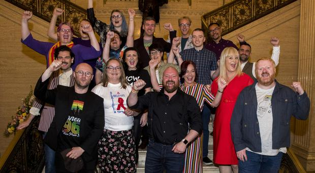 Politicians Clare Bailey and Mal O'Hara (front centre) with other speakers at the Alternative Queer Ulster at Stormont