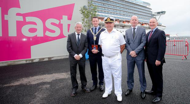 (L-R) John McGrillen, CEO of Tourism Northern Ireland, Lord Mayor of Belfast, Councillor John Finucane, Captain Domenico Lubrano Lavadera of the Crown Princess, Belfast Harbour's CEO Joe O'Neill and Gerry Lennon, CEO of Visit Belfast (Handout/PA)Picture: Philip Magowan / PressEye