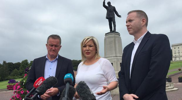 Sinn Fein's Conor Murphy, Michelle O'Neill and Chris Hazzard after a meeting with Northern Ireland Secretary Julian Smith at Stormont House (David Young/PA)