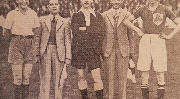 Molly at start of a France v Ireland International match with rival skipper (left) Carmen Pomies