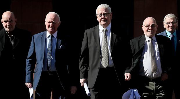 Five of the so-called 'Hooded Men' Francie McGuigan (centre) with (from left) Patrick McNally, Liam Shannon, Davy Rodgers and Brian Turley (Brian Lawless/PA)