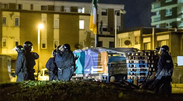 Riot police deal with disorder and anti-social behaviour in the Victoria Parade area of the New Lodge on Thursday night